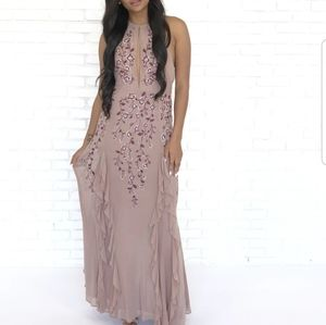 Dresses & Skirts - Floral embroidery ruffle prom maxi dress halter